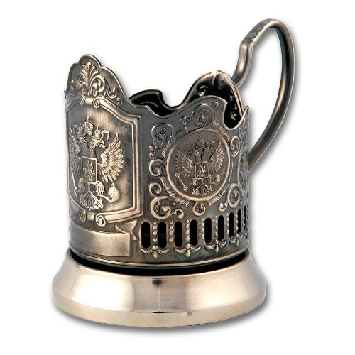 Russian Imperial Coat of Arms Classic Russian Tea Glass Metal Holder / Podstakannik for Hot or Cold -