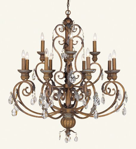 Livex Lighting 8179-17 Chandelier with Crystal Shades, Crackled Bronze with Vintage Stone Accents