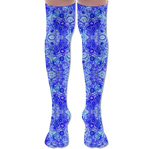JIFHS Cobalt Counterpoint Wallpaper (3928) Pattern Compression Socks For Women & Girls - Best For Running, Athletic Sports, Crossfit, Flight Travel