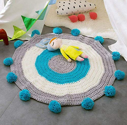 Handmade Knitted Baby Crawling Mat Round Nursery Area Rug for Kid's Play Carpet (31.5'' x 31.5'') Hypoallergenic Cotton Cable Cartoon Animal Children's Room Floor Decor Decorative Blue by YaYi