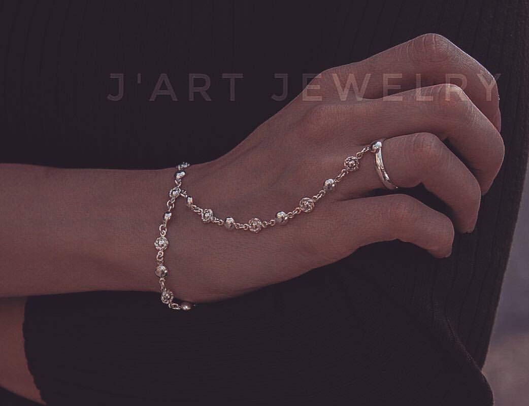 hand jewelry link bracelet bracelet with ring boho slave bracelet hand chain Sterling silver slave bracelet slave bracelet