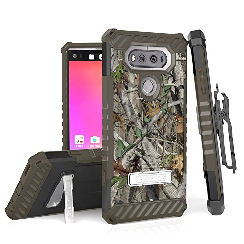 For LG V20, H910 (AT&T), H918 (T-Mobile), LS997 (Sprint), VS995 (Verizon),US996 TRI-SHIELD SERIES RUGGED KICKSTAND CASE + BELT CLIP HOLSTER [WITH CREDIT CARD SLOT & LANYARD] (Camo) by customerfirst