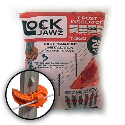 (Lock Jawz T-360 Electric Fence T-Post Insulator - Orange (25/pk))