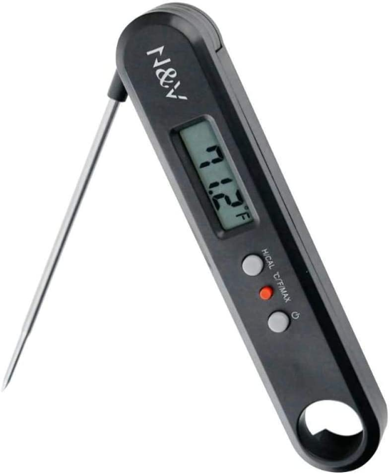 Folding Digital Thermometer, LED Display 304 Stainless Safty Food Thermometer, for Kitchen Cooking, BBQ, Poultry, Steak, Grill Food