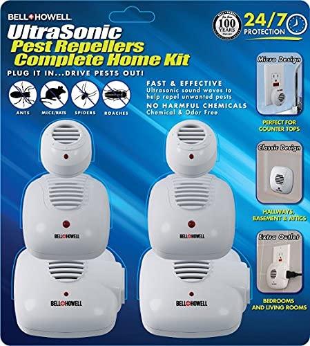 Bell + Howell Ultrasonic Pest Repeller Home Kit (Pack of 6), Ultrasonic Pest Repeller, Pest Repellent for Home, Bedroom…
