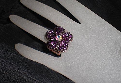 (Purple/Clear AB Flower Rhinestone Copper Pewter Stretch Ring)