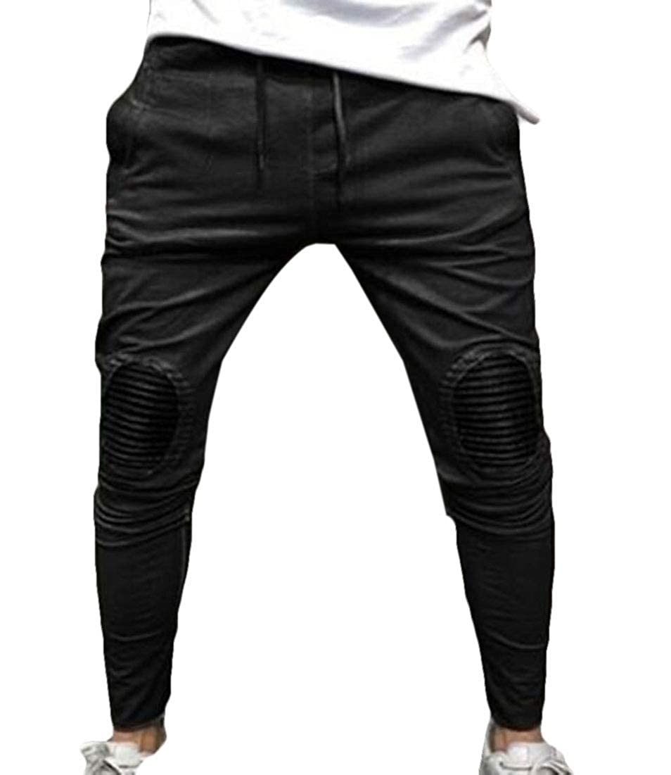 BYWX Men Hippie Sport Patch Casual Pleated Fitness Drawstring Pants