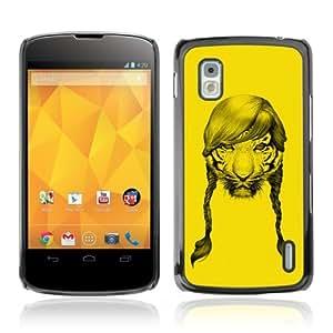 YOYOSHOP [Funny Tiger With Hair] LG Google Nexus 4 Case