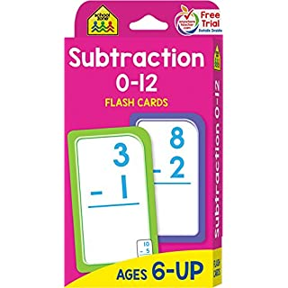 School Zone - Subtraction 0-12 Flash Cards - Ages 6 and Up, 1st Grade, 2nd Grade, Numbers 0-12, Math, Problem Solving, Subtraction Problems, Counting, and More