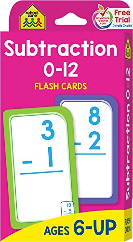 School Zone - Subtraction 0-12 Flash Cards - Ages 6 and Up, Problem Solving, Subtraction Problems, Math, and More
