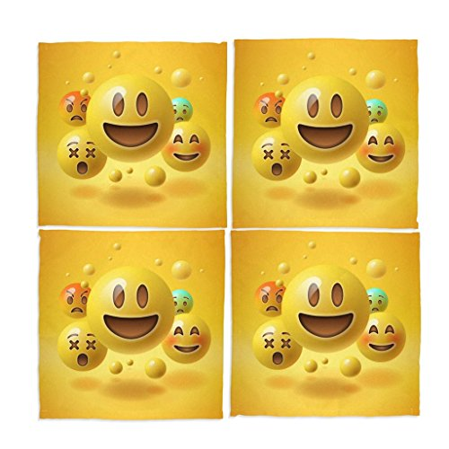 Emoji Smile Face Washable Placemats set of 4