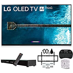 """LG OLED55E9PUA 55"""" E9 4K HDR OLED Glass Smart TV w/AI ThinQ (2019 Model) w/Soundbar Bundle Includes Deco Gear Home Theater Surround Sound 31"""" Soundbar, Flat Wall Mount Kit for 32-60 inch TVs and Mor Televisions"""