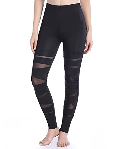 ae1af9d5eda2b SAYFUT Women Girls Sexy Solid Color Bandage Mesh Leggings, Black, One Size  at Amazon Women's Clothing store: