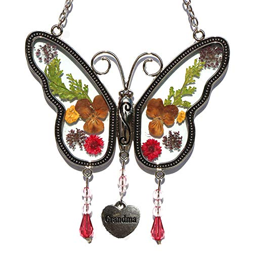 (Grandma Butterfly Suncatchers Stained Glass Suncatchers Wind Chime with Pressed Flower Wings Embedded in Glass with Metal Trim Grandma Heart Charm - Gifts for Grandma -Grandma for birthdays Christmas )