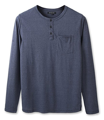 HETHCODE Men's Classic Comfort Soft Jersey Pocket Long Sleeve Henley T-Shirt Tee Cadet Blue XXL