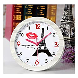 Usany Elegant Desk and Table Alarm Clock Eiffel Tower and Red lips for Girls