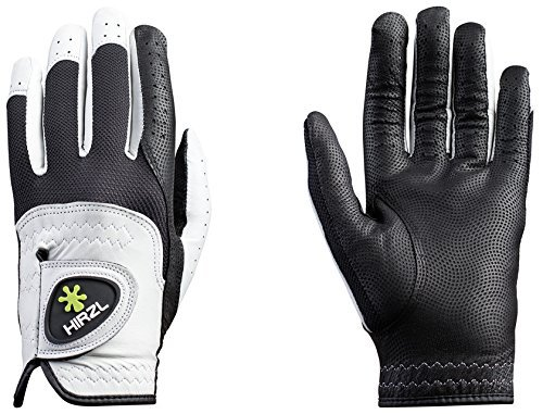 HIRZL Trust Control Men's Textured Palm Kangaroo Leather Golf Glove (Left Hand, Large, Black/White) All Weather Leather Golf Gloves