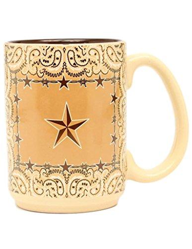 Western Moments Unisex Bandana Star Barbed Wire Mug Brown One - Coffee Western Star