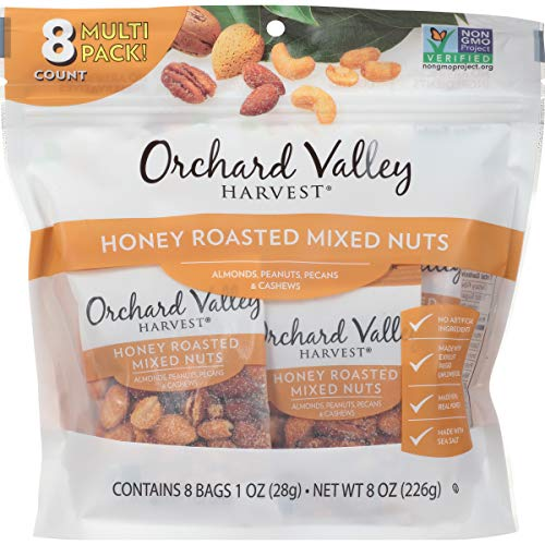 (ORCHARD VALLEY HARVEST Honey Roasted Mixed Nuts, Non-GMO, No Artificial Ingredients, 1 oz (Pack of)
