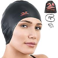 Yaavi Design Premium Silicone Swim Cap for Women Men...