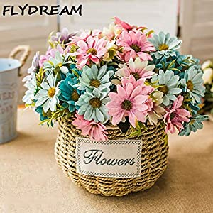 Hisshe Multi Colored Flower FLYDREAM 1 Bouquet Multi Color Artificial Flowers European Silk Daisy Flower for Wedding Home Garden DIY Decoration (Random) 6