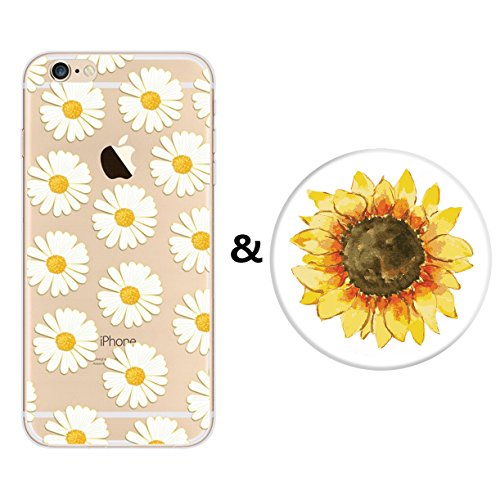 Price comparison product image iPhone 6s Plus Case and Expanding Stand Set,Karri CC Floral Prints Flexible Soft TPU Cover and Multifunction Grip Pop Mount Socket for iPhone 6 Plus& iPhone 6s Plus (Dasiy & Sunflower)
