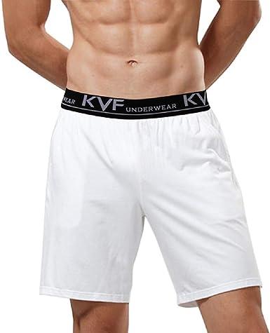 LeerKing Pack de 2 Shorts de Pijama para Hombre Shorts de algodón ...