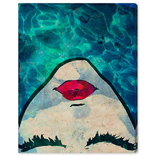 Red Lips in the Blue Water Print Wall Art Decor, 24