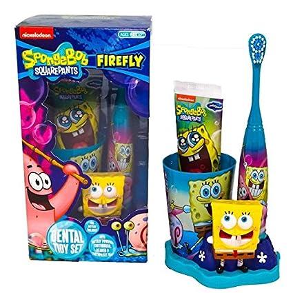 Mr White Color Juego de higiene dental Sponge Bob color cepillo eléctrico a batería, pasta