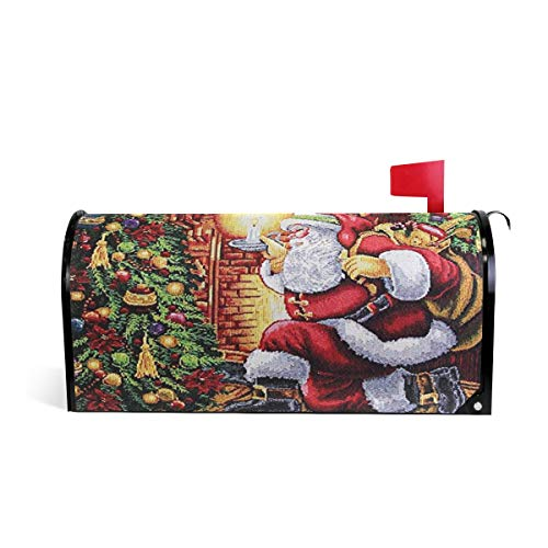 Naanle Christmas Magnetic Mailbox Cover, Retro Santa Claus Christmas Tree Mailbox Wrap Home Decorative for Standard Size 20.8