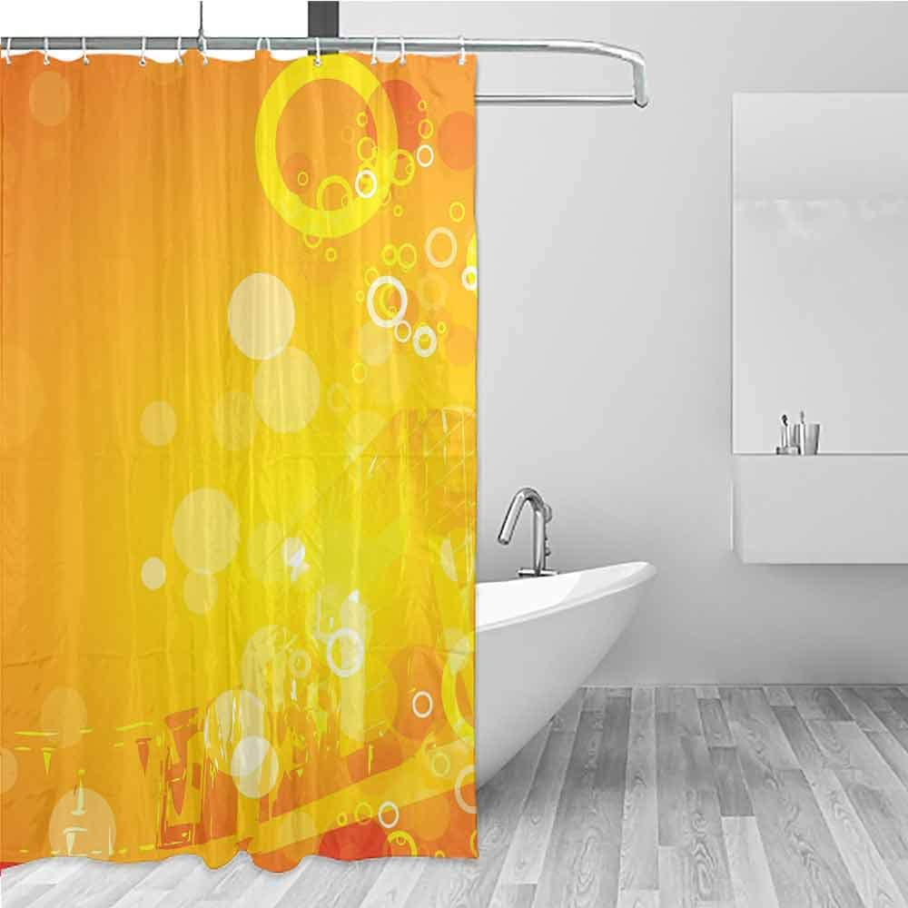 BE.SUN Bath Shower Curtain,Orange,Waterproof Colorful Funny,W94x72L Orange Yellow White by BE.SUN