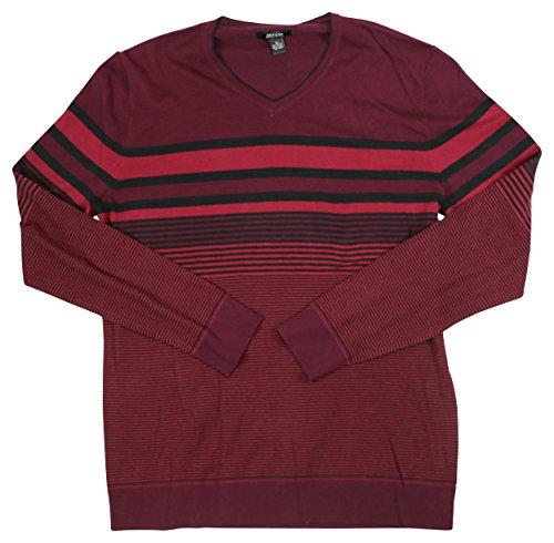 Alfani Mens Striped Regular Fit Pullover Sweater Red - Red Alfani Sweater