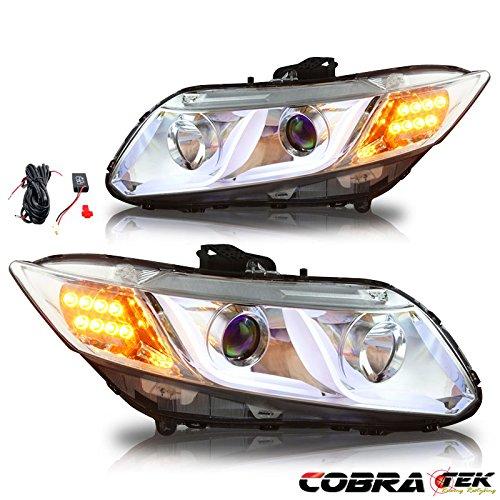 (12-13 Honda Civic 2DR/4DR Projector Head Light - Clear Lens Chrome HOUSING)