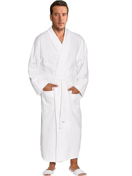 981362c8d2 Waffle   Terry Shawl Bathrobe 100% Cotton White Spa Robe
