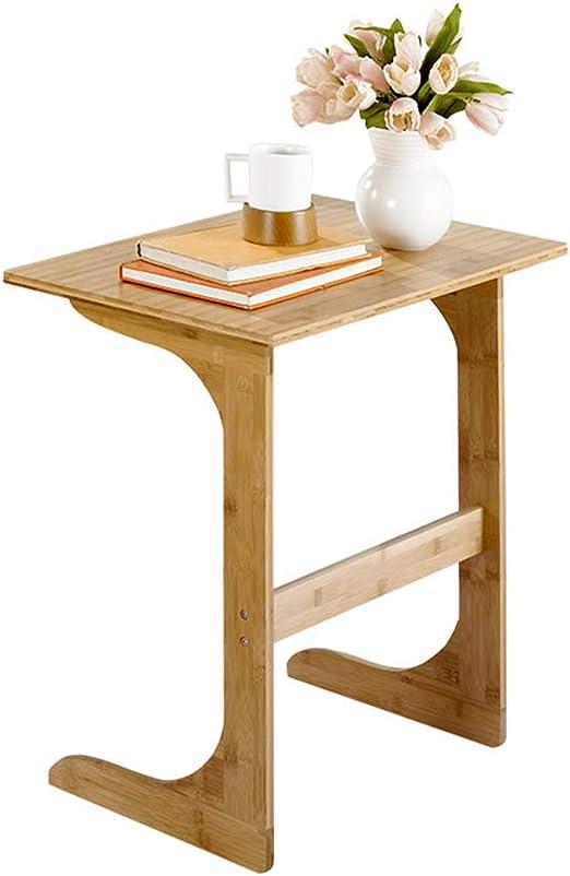 Mesa Auxiliar de Madera de bambú para sofá, Mesa de TV, Bandeja de ...