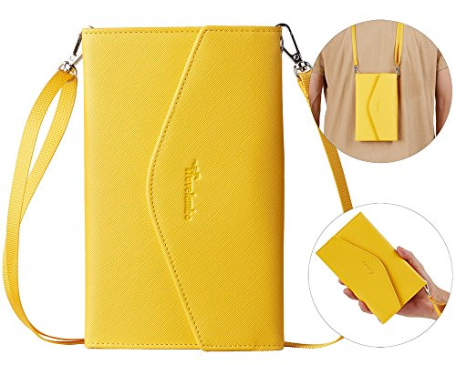 Travelambo Rfid Blocking Passport Holder Wallet & Travel Wallet Envelope 7 Colors (yellow with neck/wrist strap) by Travelambo