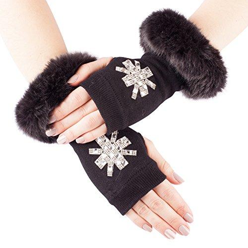 Trim Arm - GLV139-Black Fingerless Stretch Knit Gloves with Faux Fur Trim and Diamante Cross Design