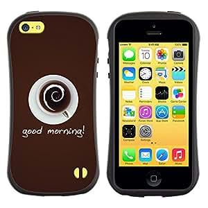 All-Round híbrido de goma duro caso cubierta protectora Accesorio Generación-I BY RAYDREAMMM - Apple iPhone 5C - Coffee Cup Mug Cream Drink Caffeine Art