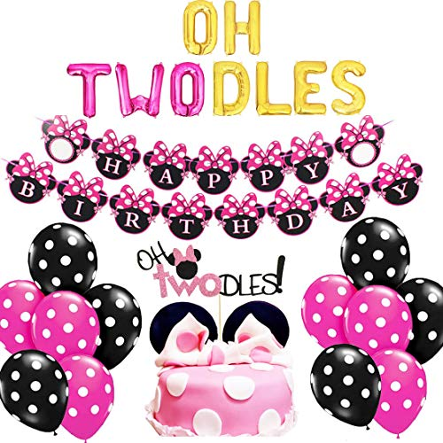 Oh Twodles Birthday (Oh Twodles Balloons Minnie Mouse Second Birthday Cake Topper 2nd Banner Party Supplies Decorations Photo Prop for Girl Baby)