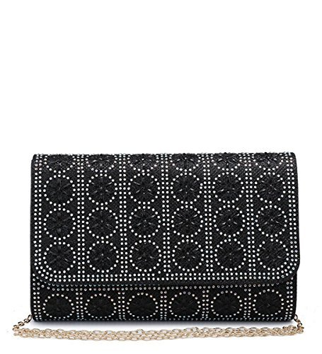 Ladies Diamante Shimmer Womens Evening Prom Hand Bags Dressy Clutch Black M37 Occasion Party d4n4xS5Egw