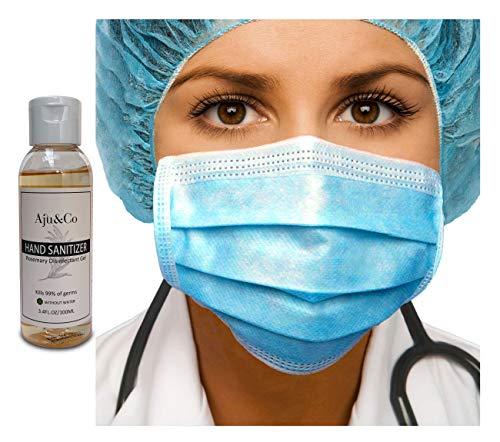 100 General Use Disposable Face Mask 3 Ply Mask & Hand Sanitiser Gel 100ml Hygienics