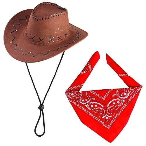 Beefunny Cowboy Hat and Paisley Bandana Wild Western Fancy Dress Costume Accessory Set ()