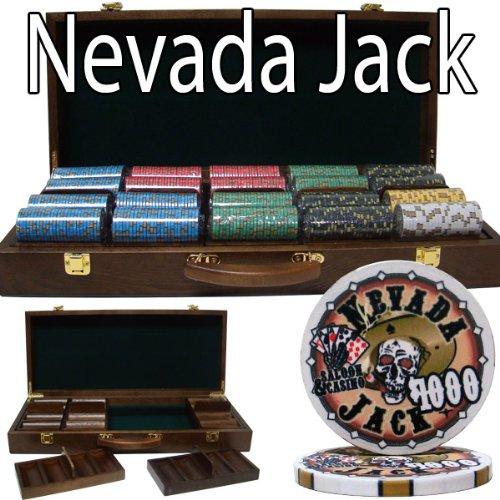 500 Ct Nevada Jack 10 Gram Ceramic Poker Chip Set w/ Walnut Wooden Case