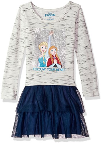 Disney Little Girls' Frozen LS Dress W Tulle Skirt, Heather Gray, Medium
