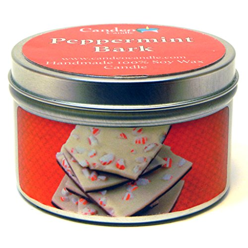 (Peppermint Bark, Super Scented Soy Candle Tin (6 oz))