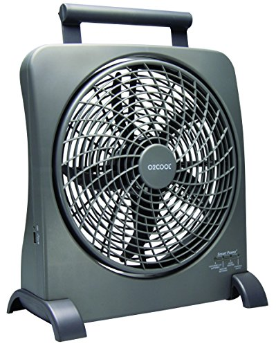 O2COOL 10-Inch Portable Smart Power Fan with AC Adapter & USB Charging Port, 8-D Battery Fan, Cell Phone Charging Fan, 10-Inch Compact Portable Battery Fan, Smart Power, Pivoting Fan Head (Renewed) (O2cool 10 Inch Portable Fan With Ac Adapter)