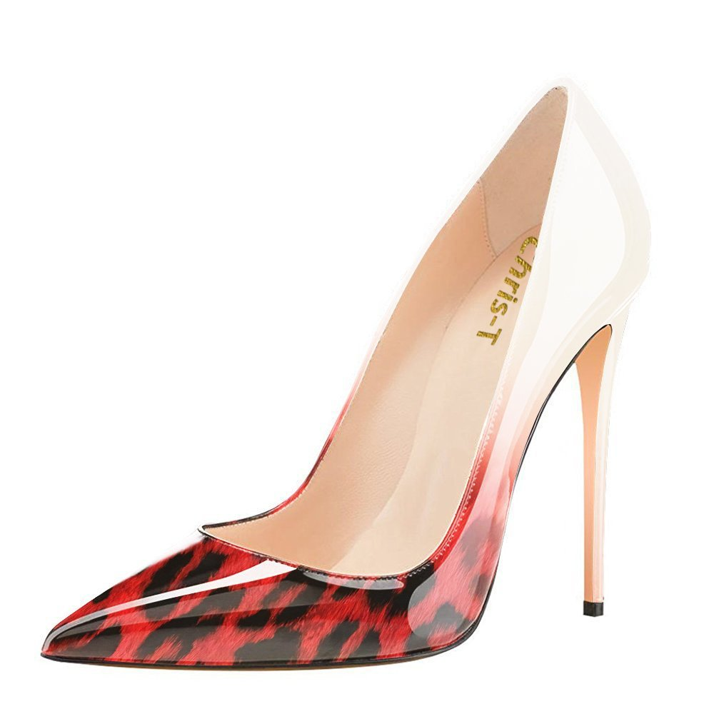Chris-T Womens Formal Pointed Toe Pumps Basic Shoes High Heel Stilettos Sexy Slip On Dress Shoes Size 4-15 US B07F2ZNHMR 10 B(M) US|Red Leopard/Red S1le(bottom)