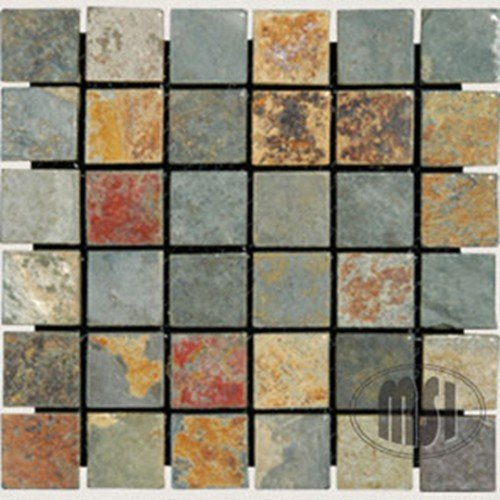 "60%OFF 2"" x 2"" Slate Tumbled Mosaic in California Gold"