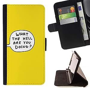 For Samsung Galaxy S6 Case , Lo La burbuja del pensamiento historieta del infierno amarillo- la tarjeta de Crédito Slots PU Funda de cuero Monedero caso cubierta de piel