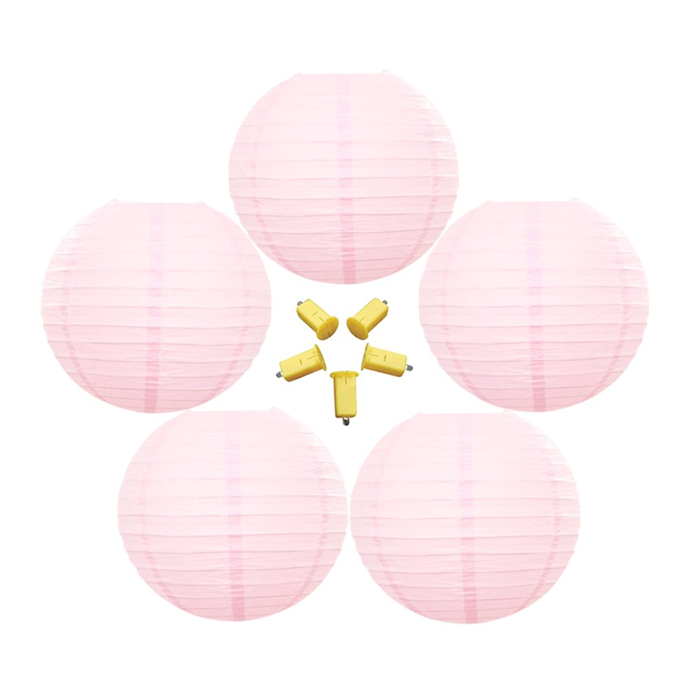 Neo LOONS 5 Pack 10 Inch Light Pink Round Chinese/Japanese Paper Lanterns Metal Framed Hanging Lanterns with LED Lights --- For Home Decor, Parties, Weddings and DIY